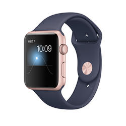 Apple Watch Series 1, 42mm Rose Gold Aluminium Case with Midnight Blue Sport Band  - Rose gold