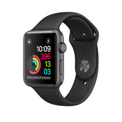 Apple Watch Series 1, 42mm Space Grey Aluminium Case with Black Sport Band  - Tamno siva