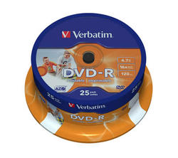 Medij DVD-R 16x, 4.7GB, Wide Photo Printable, spindle 25 komada