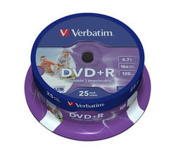 Medij DVD+R 16x, 4.7GB, Wide Photo Printable, spindle 25 komada